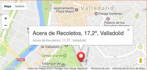 mapa de la oficina de la oficina central de Summum Marketing, en Valladolid, calle acera de recoletos, número 17