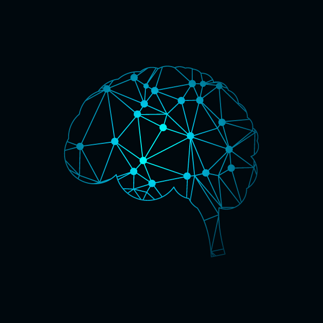 cerebro con detalle de neuronas color azul neuromarketing