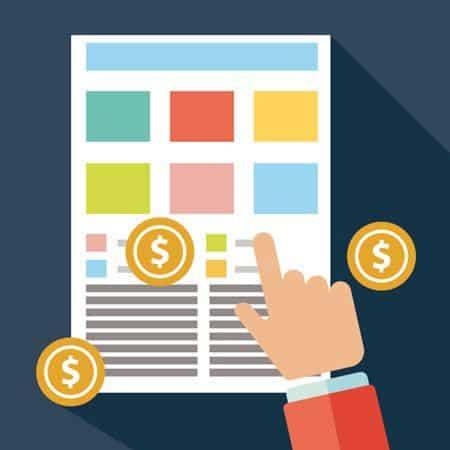 iconografía de una web con la que interactua el usuario con simbolos de monetización