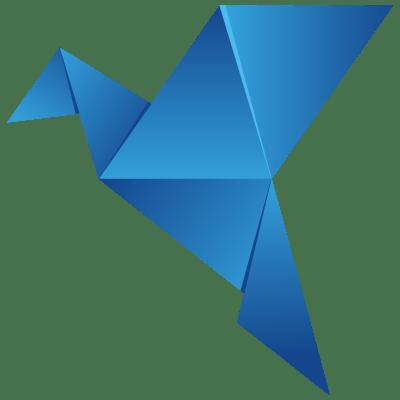 icono de una paloma azul realizada en origami como identidad corporativa