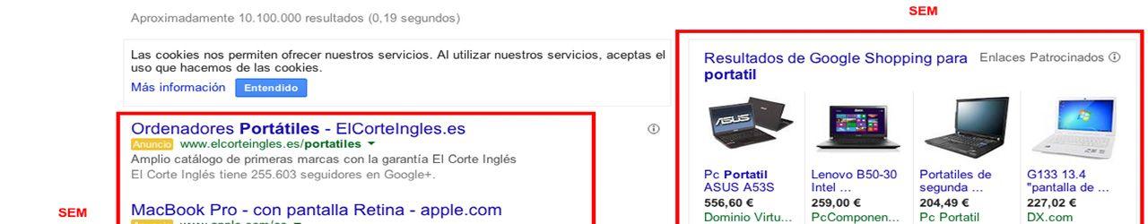 fotografía de como aparecen los resultados SEO y SEM en un buscador y la zona de Google shopping
