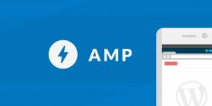 Diseño de móvil en el que se ve el logotipo de WordPress y el de AMP de Google