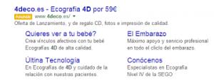 captura de google adwords sobre anuncio con extensión de enlace de sitio