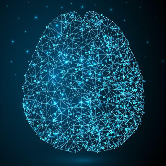 cerebro iluminado en sinapsis color azul neuornal