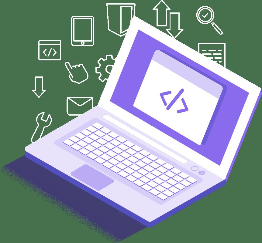 ordenador con código de programación en la pantalla