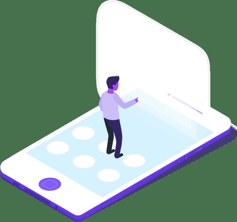 teléfono móvil y persona interactuando en una transacción digital