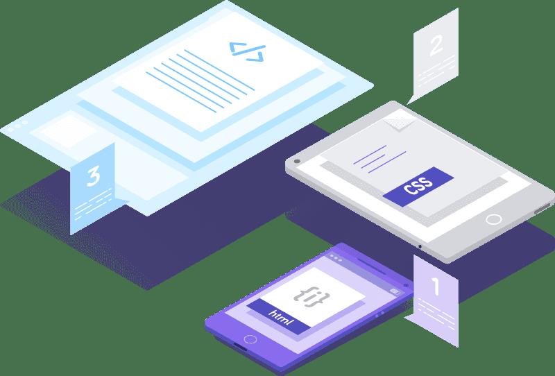 conjuntode iconos de css y programación en un proyecto cro