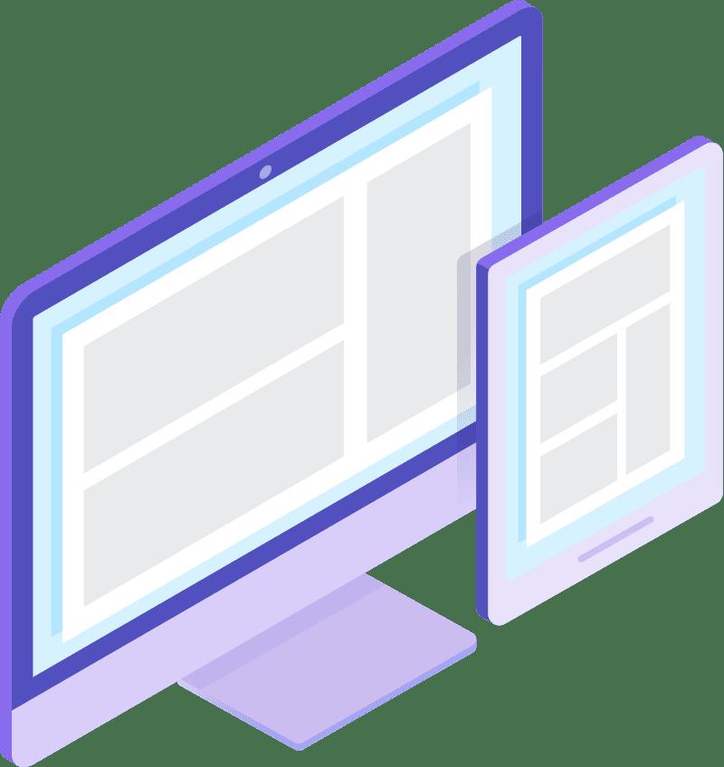 página web cargada en una tableta y en un ordenador